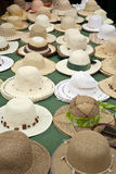 Straw Hats. Selection of straw hats on a market stall in southern Spain royalty free stock images