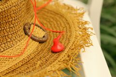 Straw hats with earphone Stock Photos