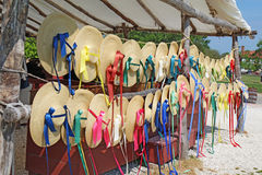 Straw hats for sale in Colonial Williamsburg, Virginia Royalty Free Stock Photo