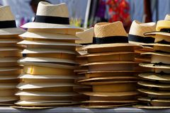 Straw hats for sale stock photos
