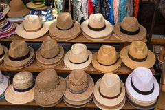 Straw hats for sale royalty free stock photo