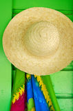 Straw hats for sale in a tropical souvenir shop Royalty Free Stock Photo