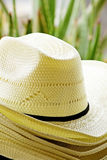 Straw Hats. Stack of Summer Straw Hats Stock Images