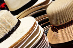Straw hats, stacked, small depth of field Royalty Free Stock Photos