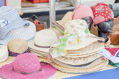 Straw hats for woman Stock Images