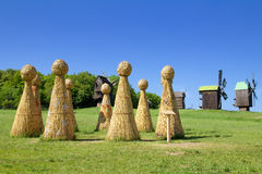 Straw Henge in field Royalty Free Stock Photography