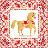 Straw horse and embroidery. Vector illustration. Wooden horse a symbol of New year 2014. Folklore style. Figurine and national embroidery Stock Images