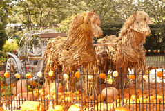 Straw Horses with fairy-tale carriage. Straw horse with fairy-tale carriage surrounded by pumpkins and gourds with an iron fence Stock Photos