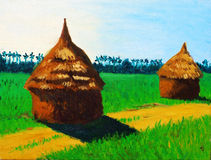 Straw house. Oil painting of the straw house Stock Photos