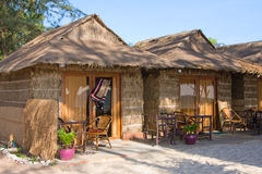 Straw house on a beach Royalty Free Stock Image