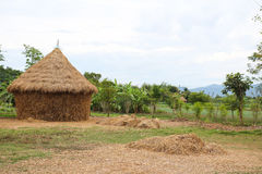 Straw house , village hut. In thailand Royalty Free Stock Image