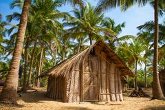 Straw hut on Paradise beach in Goa Royalty Free Stock Photos