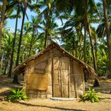 Straw hut on Paradise beach in Goa Royalty Free Stock Image
