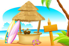 Straw Hut and Surfing Board in Beach Royalty Free Stock Photo