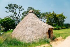 Straw hut traditional house at Ganghwa Dolmen park UNESCO World Heritage Site in Incheon, Korea