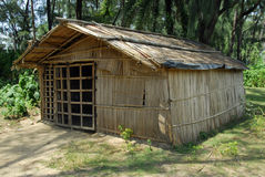 Straw hut in village stock photo