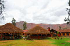Straw Huts. Straw hut at a buffet in the Sacred Valley, Peru stock photo