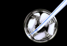 Straw&ice in a glass Royalty Free Stock Images