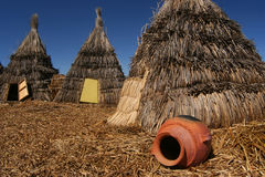 Straw Indian Tents Fotografie Stock
