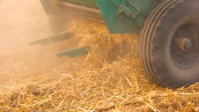 Straw in a machine. Close Combine Harvester Machine stock image