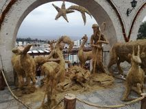 A straw made nativity scene - Arequipa, Peru royalty free stock images