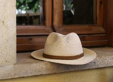 Straw man hat Royalty Free Stock Photo