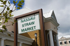 Straw market sign Stock Photo