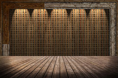 Straw mat wall and wooden floor Stock Images