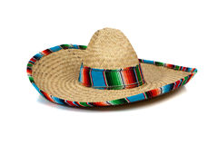 Straw Mexican Sombrero on white background royalty free stock images