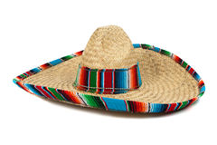 Straw Mexican Sombrero on white background. A colorful mexican sombrero on a white background with copy space stock photography