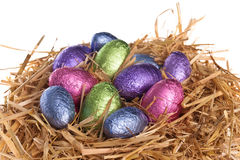 Straw nest with chocolate Easter eggs Royalty Free Stock Image