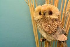 Straw Owl con la hierba seca en un fondo azul Imagen de archivo libre de regalías