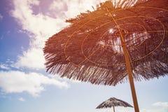 Straw Parasol arkivbild