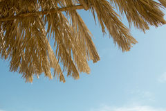 Straw parasols against the sky Stock Images