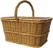 Straw Picnic Food Basket som isoleras Royaltyfri Bild