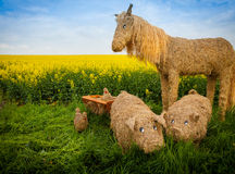 Straw pig and horse Royalty Free Stock Photography