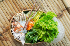 Straw plate with ingredients for vietnamese spring rolls Stock Photo