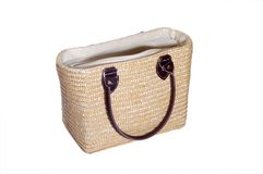 Straw purse. A good looking, clean, straw tan purse, isolated Stock Photos
