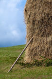 Straw reek. Two straw reeks with wood in front Royalty Free Stock Photography