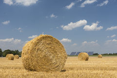 Straw roll bales with crop field, photovoltaic panel and blue sky in background Royalty Free Stock Photo