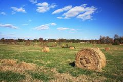 Straw Rolls. Rural landscape with straw rolls Stock Photos