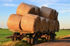 Straw rolls on a trailer Stock Photo