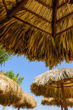 Straw roof of beach umbrella. And blue sky Royalty Free Stock Photography