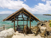 Straw roof gazebo. With sea view, Philippines Royalty Free Stock Photos