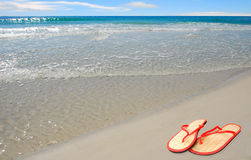 Straw Sandals by Sea Royalty Free Stock Photos