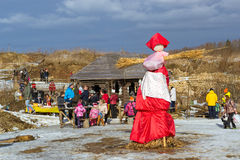 Straw Scarecrow of Shrovetide before burning Royalty Free Stock Image