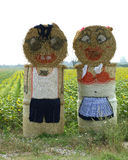 Straw sculpture. A family made out of straw bales Stock Image