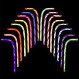 Straw Set bevente a strisce colorato Fotografia Stock
