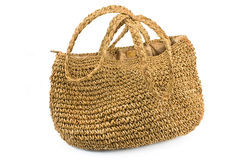 Straw shopping bag Royalty Free Stock Images
