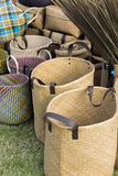 Straw shopping bags Stock Photo